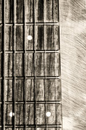 Guitar neck fingerboard on textured background