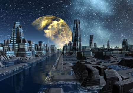 Starry Night Over An Alien City - Science Fiction Scene Part 5