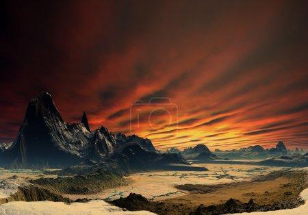 Photo pour Planète fantastique avec une surface rocheuse et sec - image libre de droit