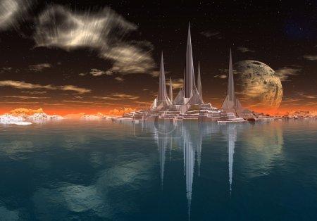 Photo pour Avant-poste militaire sur une planète extraterrestre imaginaire, scène de science-fiction - image libre de droit