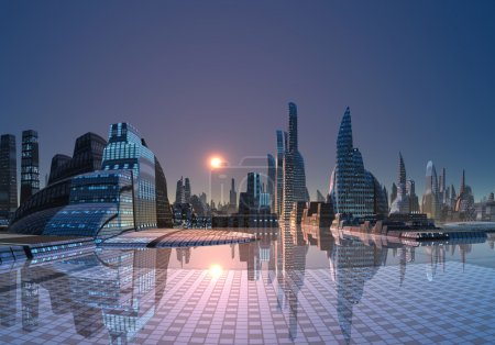 Photo for Futuristic city somewhere in the universe - Royalty Free Image
