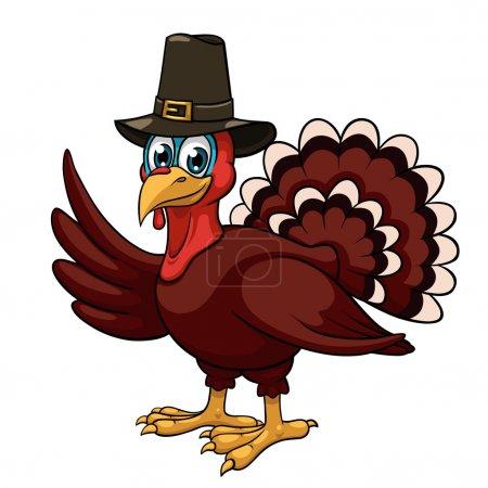 Illustration pour Une dinde de Thanksgiving dessin animé dans un chapeau de pèlerin sur fond blanc - image libre de droit
