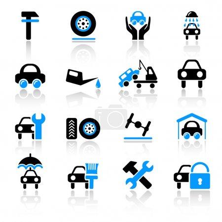 Ilustración de Conjunto de iconos 16 auto servicio - Imagen libre de derechos