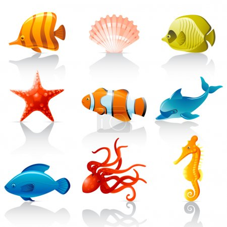 Illustration for Set of 9 glossy Sea fauna icons - Royalty Free Image