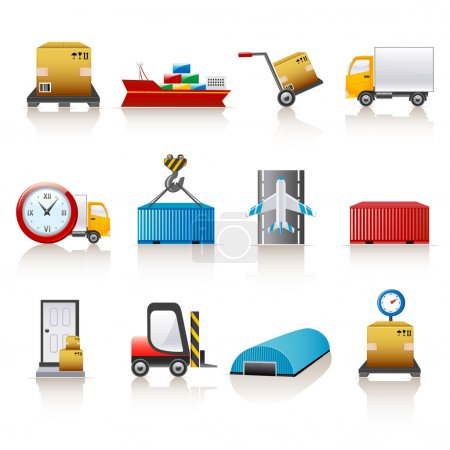 Illustration pour Ensemble de 12 icônes colorées pour entreprise logistique - image libre de droit
