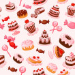 Seamless background cakes, candies in cartoon styl...