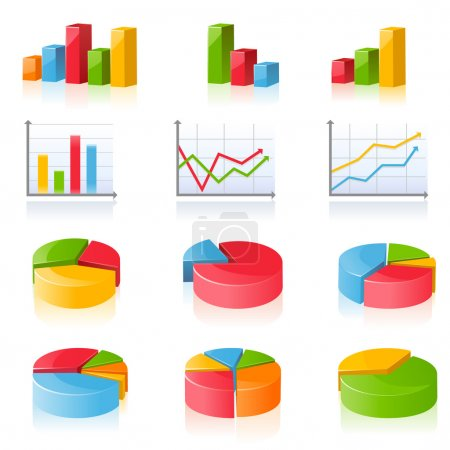 Illustration for Set of 12 business charts and diagrams - Royalty Free Image
