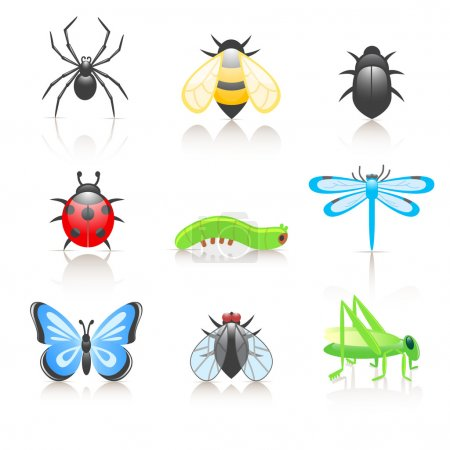 Illustration for 9 colorful icons of cartoon insects - Royalty Free Image