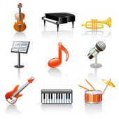 Set if 9 colorful musical instruments