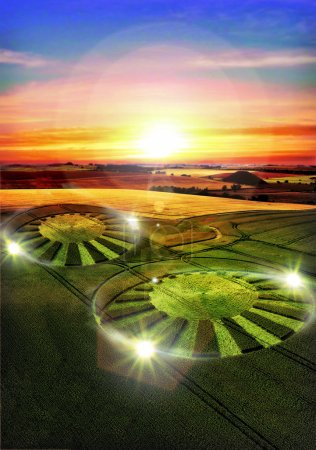 Photo for Ufo alien crop circle 3D illustration - Royalty Free Image
