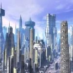 A futuristic city landscape in 3d...