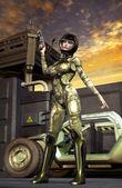 Futuristic soldier girl