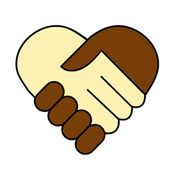 Hand shake between black and white man heart shaped symbol