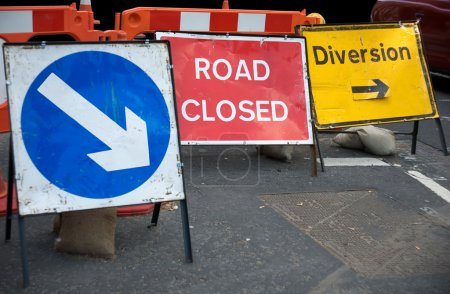 Photo for Signs informing about a closed road - Royalty Free Image