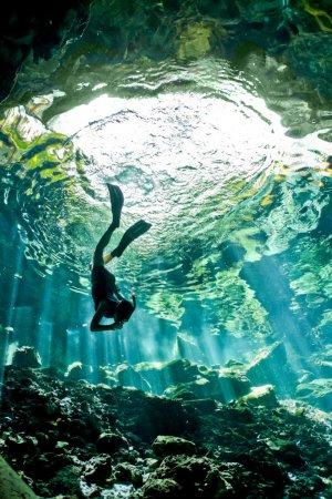 Foto de Una hembra joven libre se zambulle en un cenote. una cueva de agua dulce que viaja cientos de metros bajo tierra en México. - Imagen libre de derechos