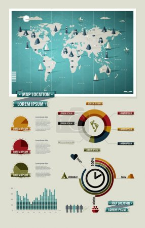 Définir les éléments d'infographie. Carte du monde et graphiques d'information