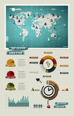 Készlet elemeinek infographics. világ Térkép és információk grafikus