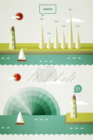 Infographics elements with a lighthouse on the landscape