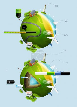 Illustration for Elements of infographics with the ball planet earth - Royalty Free Image