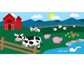 Cartoon farm with various animals throughout the field