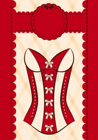 Vintage corsets on ornament background.
