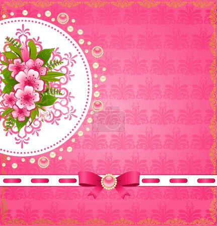 Flowers with lace ornaments on background.