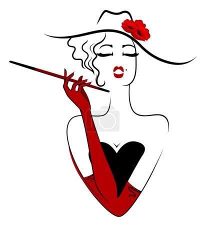 Illustration for Vintage fashion girl - Royalty Free Image