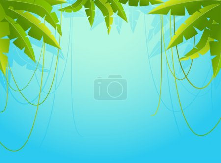Illustration for Beautiful background with tropical branches - Royalty Free Image