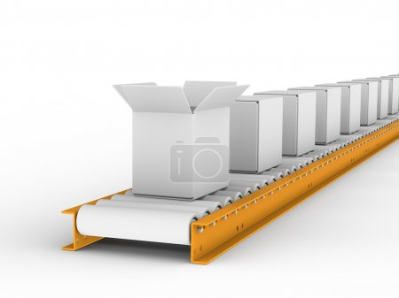 Photo for Conveyor belt withe boxes - Royalty Free Image