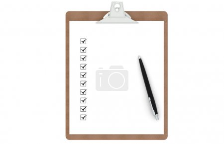 Photo for Clipboard with Checklist and Pen. Front view. - Royalty Free Image