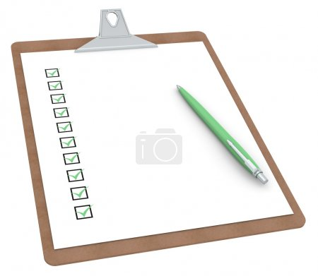 Clipboard with Checklist X 10 and Pen