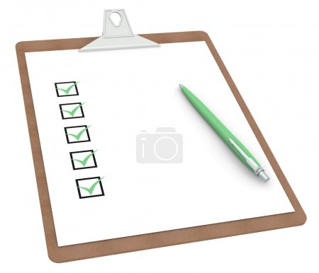 Clipboard with Checklist X 5 and Pen
