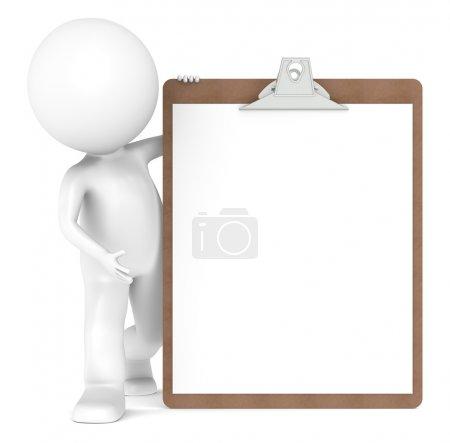 Photo pour 3D petit personnage humain tenant un presse-papiers - image libre de droit