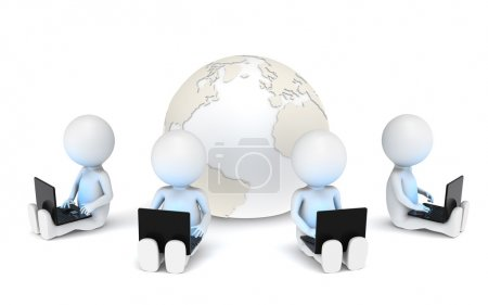 Photo for 3d little human characters X4 with Laptops. Blue illuminative Screens. - Royalty Free Image