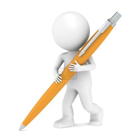 Foto de Carácter humano poco 3D escribir con un bolígrafo. naranja - Imagen libre de derechos