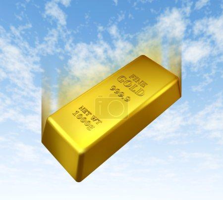 Photo pour Chute du prix de l'or représenté par une barre métallique jaune doré descendant avec un fond bleu ciel montrant le concept de perte de valeur dans le commerce précieux bul - image libre de droit