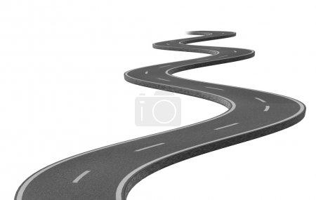 Photo pour Route asphaltée sinueuse courbe représentée par une seule autoroute sur fond blanc représentant un voyage stratégique clairement ciblé vers une destination et un voyage prévus - image libre de droit