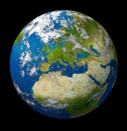 Photo pour Avec les pays de l'europe et l'union européenne y compris france Allemagne Italie et l'Angleterre, entourée par l'océan bleu et les nuages sur fond noir de la planète Terre. - image libre de droit