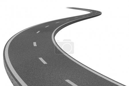 Photo pour Route routière courbe représentant le concept d'un voyage stratégique planifié vers une destination liée à un objectif représentée par un seul sentier pavé à deux voies . - image libre de droit
