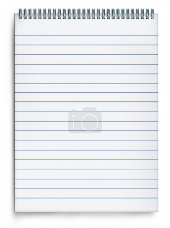 Photo for Blank notepad book on a white background with striped paper and metal spiral representing the concept of planning and correspondence through the writing of mess - Royalty Free Image