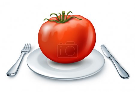 Photo pour Alimentation saine, représentée par un plat blanc avec fourchette couteau anf et une grosse tomate rouge représentant des aliments de santé et de la bonne santé nutrition. - image libre de droit
