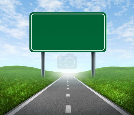 Photo for Road with blank highway sign with green grass and asphalt street representing the concept of journey to a focused destination resulting in success and happiness - Royalty Free Image