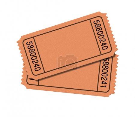 Photo pour Admettre un billets de cinéma vide isolé sur fond blanc, représentant les deux talons de chèque pour le show-business pour entrer et le prix d'entrée de théâtre cinématographique d'aller voir th - image libre de droit