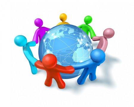 Photo pour Connexions Internet et réseaux dans le monde entier, représenté par une sphère internationale globale repose sur le sol, montrant les communications entre les villes une - image libre de droit