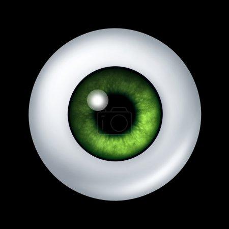 Photo pour Organe boule d'oeil vert humain avec iris et lentille de la rétine représentant la partie du corps de la vue et la profession médicale d'optométrie pour voir si les lunettes ou contac - image libre de droit