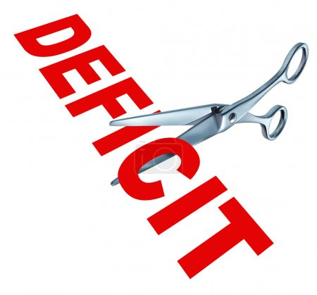 Cutting the deficit to balance the government financial budget due to the recession and other public debt crisis represented by open sharp scissors.