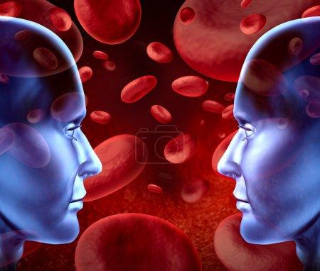 Photo pour Dons de sang avec les différents groupes sanguins et des types qui représentent les cellules rouges du sang qui coule à travers les veines et le système circulatoire humain pour les donneurs et les receveurs o - image libre de droit