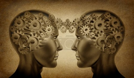 Photo for Business partnership and teamwork symbol represented by two human heads with gears connected together as a symbol of network referrals and relationships on an o - Royalty Free Image