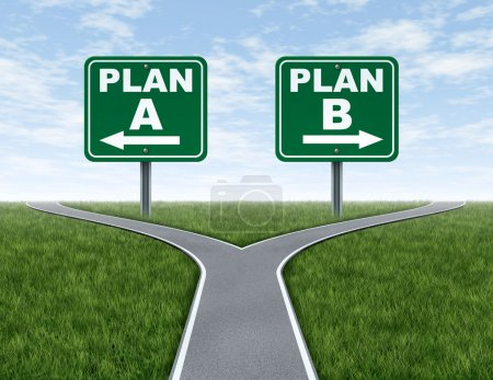 Photo for Cross roads with plan A plan B road signs business symbol represnting the difficult choices and challenges when selecting the right strategic path to take on a - Royalty Free Image