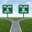 Cross roads with plan A plan B road signs business...
